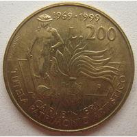 Италия 200 лир 1999 г. Карабинеры, защита культурного наследия