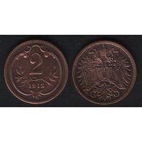 Австро-Венгрия km2801 2 геллер 1912 год (f51)(ks00)