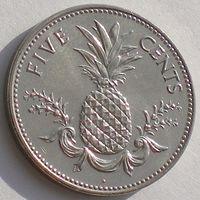 Багамы/ Багамские острова, 5 центов 2005 года, растения: ананас, состояние UNC, KM#60