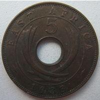 Британская Восточная Африка 5 центов 1933 г. (g15)
