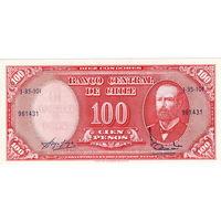 Чили, 10 чентезимо на банкноте 100 песо, UNC