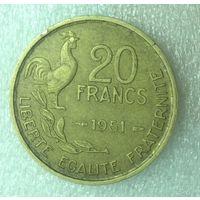 Франция 20 франков В, 1951 г.