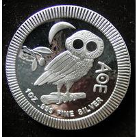 Афинская сова, NIUE, 2018, серебро, 1 oz, инвестиционная