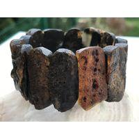 Браслет янтарный - МАСАИ -цвет Черный лак - балтийский натуральный камень - 41 гр