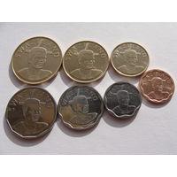 """Свазиленд. """"Эсватини"""" набор 7 монет 5, 10, 20, 50 центов, 1, 2, 5 эмалангени 2011-2015 год UNC"""