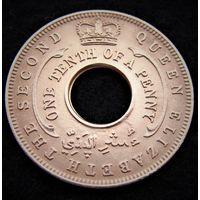 Британская западная Африка.  1/10 пенни 1954 год  KM#32  Редкая!!!