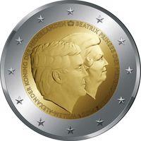 2 евро Нидерланды 2014 Виллем-Александр и Беатрикс UNC из ролла