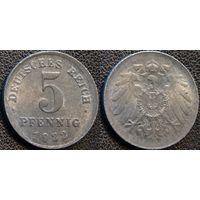 YS: Германия, 5 пфеннигов 1922 (E), слабый чекан у гурта, пруф, KM# 19, редкость