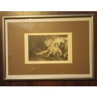 Старинная гравюра . Франция  Оноре Виктор Донье. 1808-1897 . Резня на улице Транснонайн .