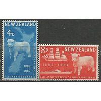 Новая Зеландия. 75 лет экспорта мяса. 1957г. Mi#368-69. Серия.