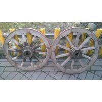 Комплект деревянных колёс на телегу с осью . ( колёс 4 , ос одын )