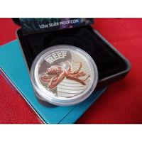 Австралия 50 центов 2012 Осьминог Морская жизнь Морская фауна Рифы СЕРЕБРО