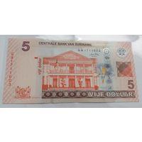 Суринам 5 долларов 2010 года (UNC)