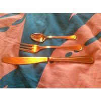 Комплект  десертный Италия позолота(вилка, нож, ложка)3 набора