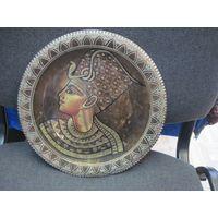Старая египетская латунная настенная тарелка 28 см.
