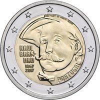 2 евро 2017 Португалия 150 лет со дня рождения Раула Брандао UNC из ролла