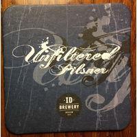 "Подставка под пиво ""Unfiltered Pilsner"" пивоварни ""ID Brewery"" /Москва, Россия/"