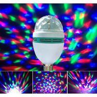 Лампа диско светодиодная разноцветная вращающаяся для создания эффекта разноцветного дождя на стенах и потолке в помещении