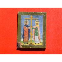 Икона Воздвижение  креста Константинам и Еленой.Серебро темпера, кипарис