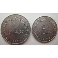 ОАЭ 1 дирхам 1989 + 50 филс 1973 гг. Цена за обе (u)