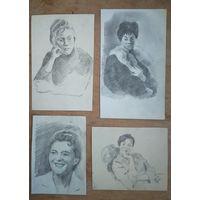 Крохалев Петр. Рисунки. Женские портреты. 4 штук. . Бумага. карандаш. 12х21 см (мах) Цена за 1