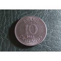 10 крузадо 1988. Бразилия. Большая и отличная!