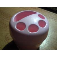 Подставка для зубных щёток и пасты пластмассовая розовая