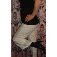 Бриджи капри брюки 44-46 ЛЕН белые