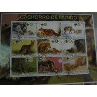 Марки - Ангола 2000 фауна собаки волки и лисы блок