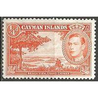 Кайманы. Король Георг VI. Вид на пляж. 1938г. Mi#101.