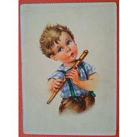 Мальчик с флейтой. Дети. Германия. 1950-е. Подписана