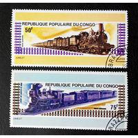 Конго 1975 г. Локомотивы. Поезда. Железная дорога. AirMail, полная серия из 2 марок #0156-Т1P32