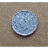 Британская Индия, Георг VI (1936-1952), 1 рупия 1944 г., малый портрет, серебро