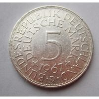 ФРГ. 5 марок 1967 D, Серебро