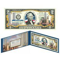 2 доллара  WORLD TRADE CENTER  10 годовщина 9.11  (цветные в футляре с сертификатом)