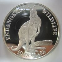 Остров Кука. 50 долларов 1990. Кенгуру. Серебро (29)
