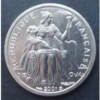 Французская Полинезия. 1 франк 2001 Последний аукцион 2019