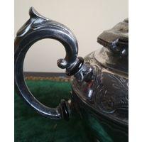 Старинный чайник посеребрение декорация резба Англия