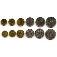 Киргизия 1, 10, 50 тыйынов 1, 3, 5 сомов 2008 г.