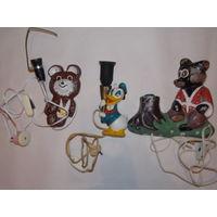 Светильники СССР детские металлические - мишка олимпийский, Дональд Дак, мишка возле пенька