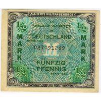 Германия. 1944 год., союзная оккупация, 1/2 марки  EF..