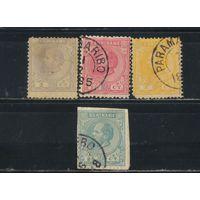 NL Колонии Суринам 1875-83 Вильгельм III Стандарт #7,11,14,15