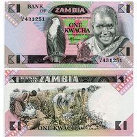 Замбия. 1 квача (образца 1980 года, P23b, UNC)