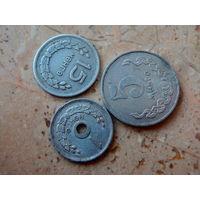 15 мунгу 1959, 5 мунгу 1977, 1 мунг 1959 Монголия.