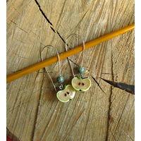 Яблочки, серьги ручной работы с натуральным змеевиком