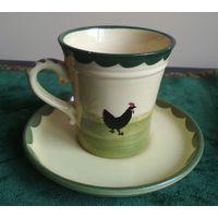 Чашка с блюдцем фарфор пара, кружка, рисунок ручная работа Германия клейма