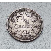 "Германия 1/2 марки, 1918 ""A"" - Берлин 7-1-54"