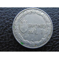 Италия 1 лира 1924г.