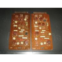 Две панели с различными  радиодеталями