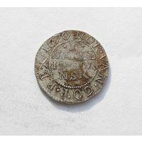 Скилинг 1670 Кристиан V король Дании.Редкий год монеты